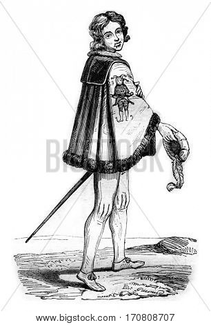 Knight of the Order of Fools, has Cleves, vintage engraved illustration. Magasin Pittoresque 1842.
