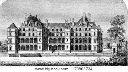 Chateau de Madrid in the Bois, demolished at the end of the last century, vintage engraved illustration. Magasin Pittoresque 1842.