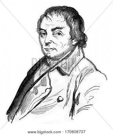 Francois Cacault, vintage engraved illustration. Magasin Pittoresque 1842.