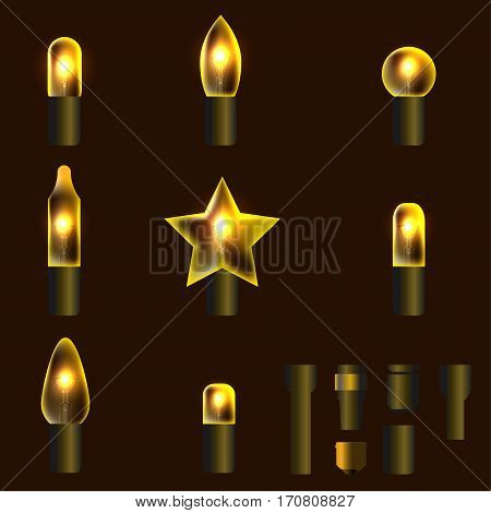 Set of yellow shining garland lights with holders isolated on background. Christmas, New Year party decoration realistic design elements. Glowing lights for Xmas. Holiday greeting design.