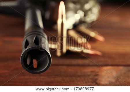 Military set on wooden background