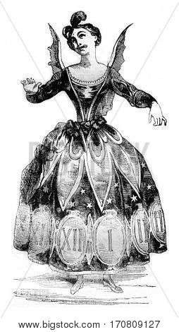 Time costume, vintage engraved illustration. Magasin Pittoresque 1842.