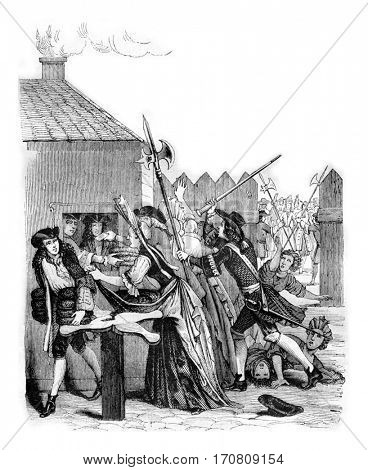 Bread distribution at the Louvre during the 1709 famine, vintage engraved illustration. Magasin Pittoresque 1842.