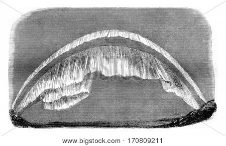 One form of the Aurora Borealis in the North, vintage engraved illustration. Magasin Pittoresque 1842.