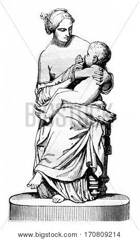 1842 Sculpture Show, Young Neapolitan woman believing her child, plaster group, vintage engraved illustration. Magasin Pittoresque 1842.