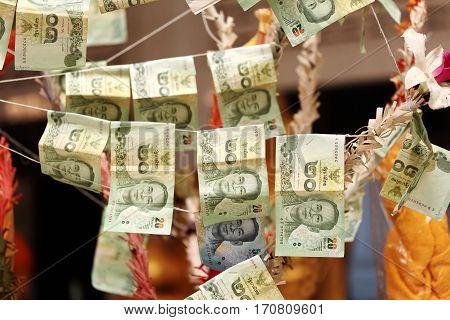Sticked Cash On Merit Tree. Selective Focus.
