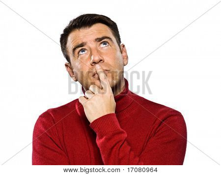 caucasian man thinking looking  up pensive studio portrait on isolated white background