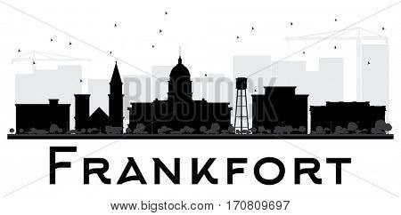 Frankfort City skyline black and white silhouette. Simple flat illustration for tourism presentation, banner, placard or web site. Cityscape with landmarks.