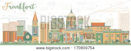 Abstract Frankfort Skyline with Color Buildings. Business Travel and Tourism Concept with Modern Architecture. Image for Presentation Banner Placard and Web Site.