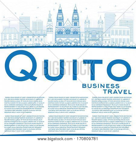 Outline Quito Skyline with Blue Buildings and Copy Space. Business Travel and Tourism Concept with Historic Architecture. Image for Presentation Banner Placard and Web Site.