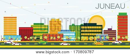 Juneau Skyline with Color Buildings and Blue Sky. Business Travel and Tourism Concept. Image for Presentation Banner Placard and Web Site.