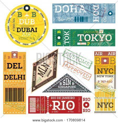 Retro Baggage Tags. Luggage Label from Dubai, Doha, Tokyo, Delhi, Milan, Singapore, New York and Rio de Janeiro.