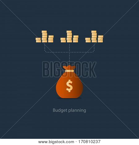 Compound interest, financial investments in stock market, allocate money, collect taxes, money return, pension fund plan, budget management, savings account, banking vector illustration icon