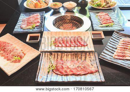 Beef and pork slice for barbecue Japanese food Yakiniku