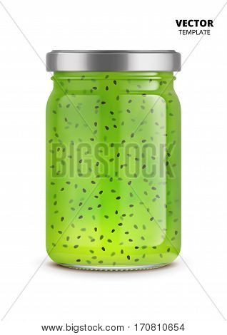 Kiwi jam jar glass mockup vector isolated on white background. Glass jar mockup for design presentation ads. Kiwi jam jar glass template for jam label design. Vector jam jar isolated.