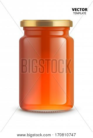 Orange jam jar glass mockup vector isolated on white background. Glass jar mockup for design presentation ads. Fruit jam jar glass template for jam label design. Vector jam jar isolated.