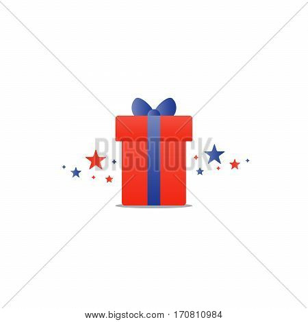 Special gift, red box with blue ribbon and stars, best present idea concept, creative perfect gift, surprise box package, reward icon, vector flat illustration
