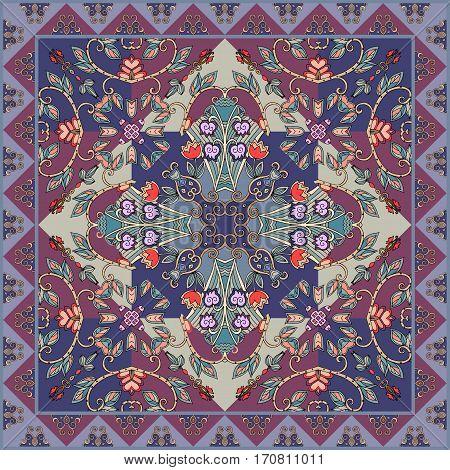 Beautiful tablecloth, ceramic tile, pillowcase, kerchief square design pattern. Vector illustration. Ethnic bandana print.