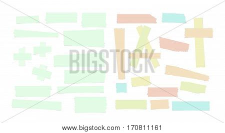 Different size colorful sticky paper, adhesive, masking tape stuck on white background.