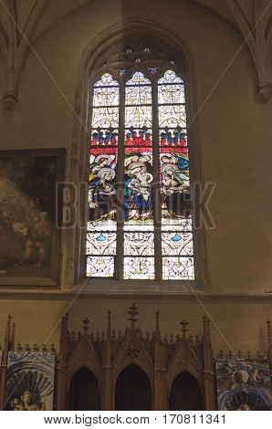 Grand Duchy of Luxembourg Luxembourg- January 032017: Notre-Dame Chatnedral. Colorful windows