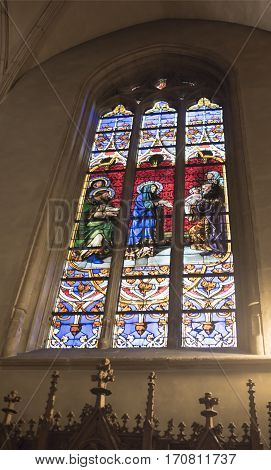 Grand Duchy of Luxembourg Luxembourg- January 032017: Notre-Dame Chatnedral. Colorful window
