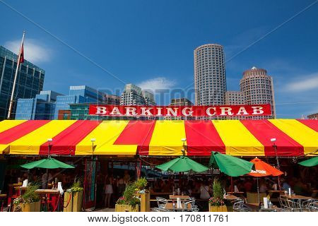 Boston,Massachusetts USA - July 15 2016: The famous restaurant Barking Crab.Located in Boston and Newport the Barking Crab has become one of the citys best-loved meeting and eating spots.