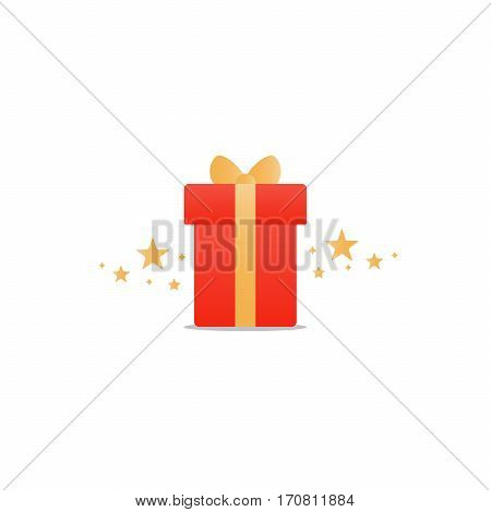 Special gift, red box with yellow ribbon and stars, best present idea concept, creative perfect gift, surprise box package, reward icon, vector flat illustration