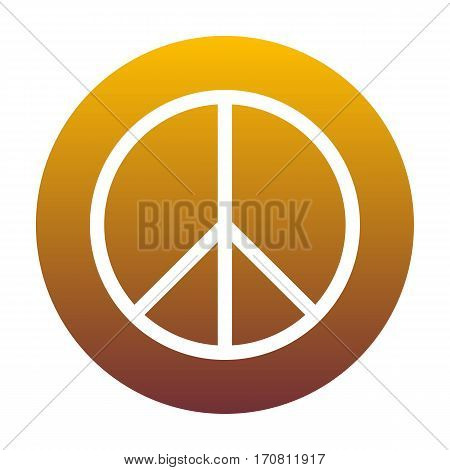 Peace sign illustration. White icon in circle with golden gradient as background. Isolated.