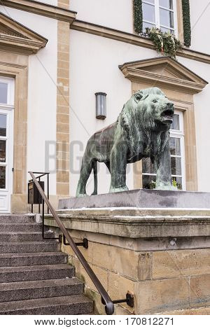 Grand Duchy of Luxembourg Luxembourg- January 032017: Lion at the entrance of Hotel De Ville