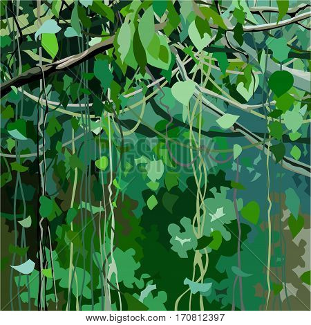 cartoon background with forest overgrown with green leaves and lianas