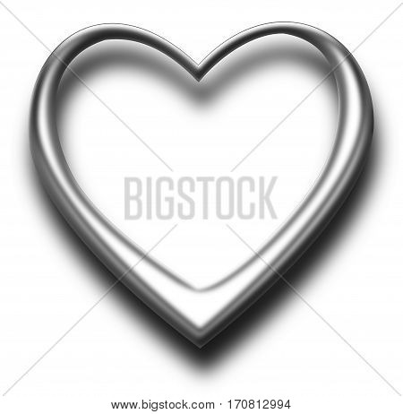 One heart , isolated on white, 3D Illustration