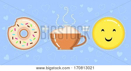 vector illustration of donut with glaze cappuccino cup and smiling yellow face on blue background with hearts