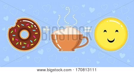 vector illustration of donut with chocolate glaze cappuccino cup and smiling yellow face on blue background with hearts