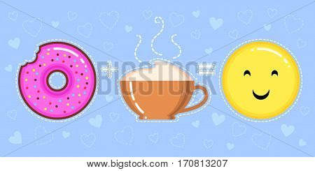 vector illustration of donut with pink glaze cappuccino cup and smiling yellow face on blue background with hearts