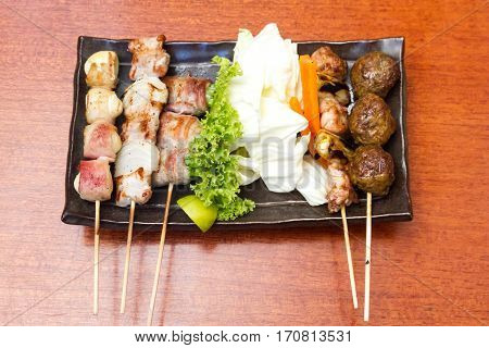 Japanese cuisine Grilled Japanese skewered meat Yakitori