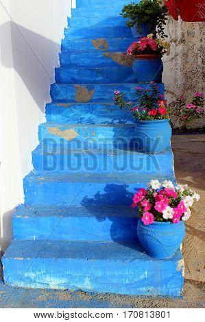 Blue staircase in the village Zia, Kos Island, Greece