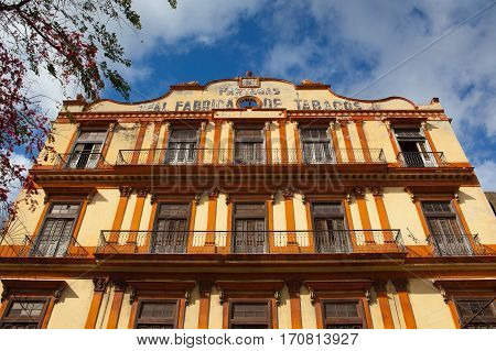 Havana Cuba - January 22 2017: The Real Fabrica de Tabacos Partagas is a cigar factory in Havana Cuba. The world famous habanos cigars are produced in this factory.