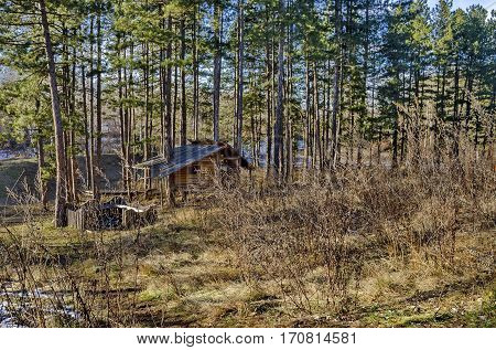 Wintertime view of  summer-house or alcove, with place for respite in the glade, Pancharevo, Bulgaria