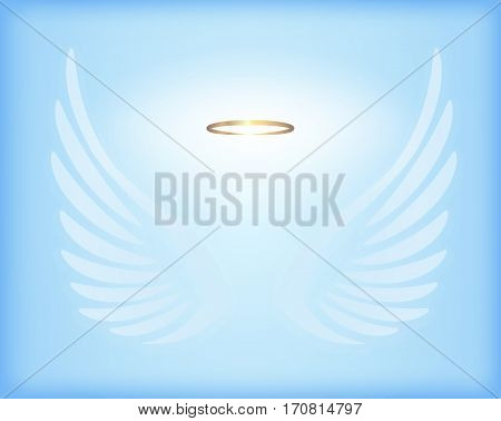 Transparent white angel wings with gold nimbus on sky blue background