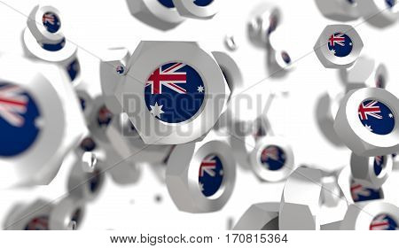 Nuts levitation group with flag of the Australia. Shallow depth of focus. 3D rendering