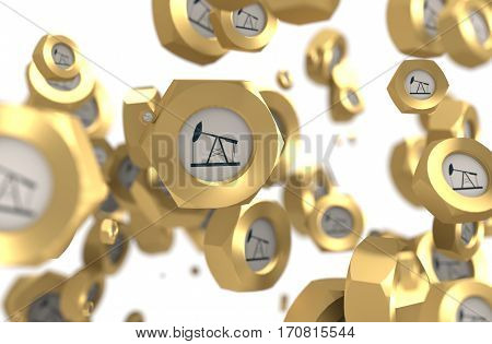 Nuts levitation group with oil pump icon. Shallow depth of focus. 3D rendering