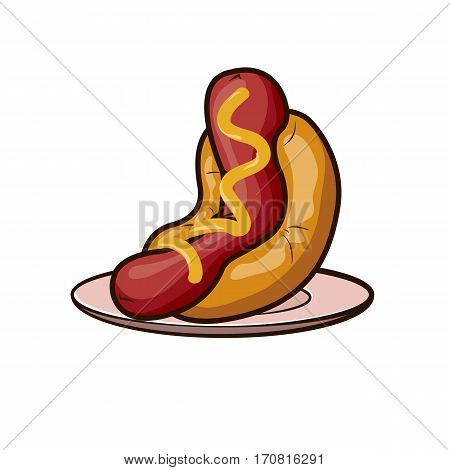 hotdog with mustard on a plate icon
