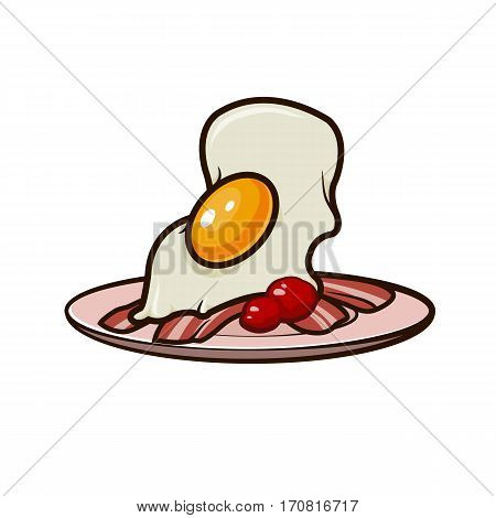 sunny side up eggs with bacon on a plate icon