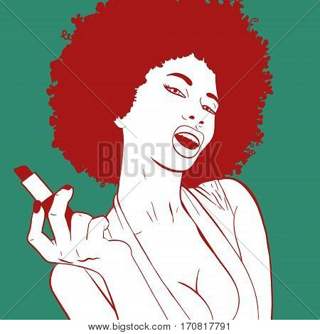 Pop Art girl portrait. Hollywood, movie star. Comic woman. Sexy african woman portrait doing her makeup. Vector colorful background in pop art retro comic style.