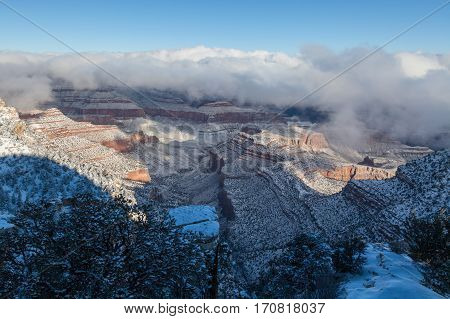a scenic winter landscape at the grand canyon south rim