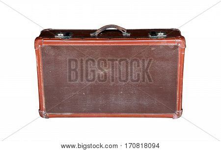 old retro red suitcase isolated on white background