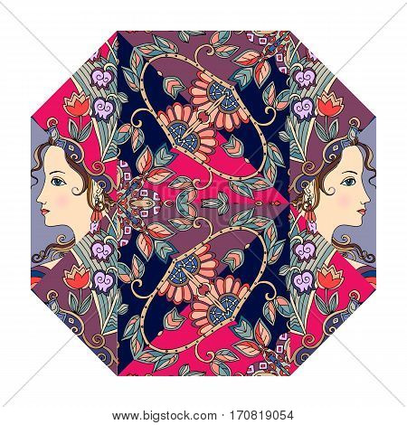 Festive indian print with portraits of cute girls and floral ornament. Octahedron. Packaging design.