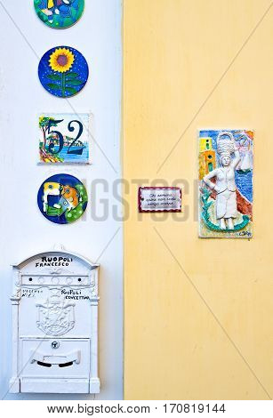 Ischia Italy - October 19 2008: An ancient mailbox of an house in the village