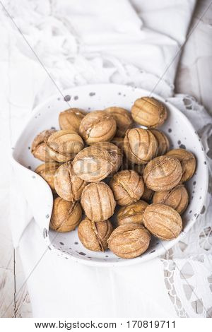 Cookies nuts with condensed milk and nuts