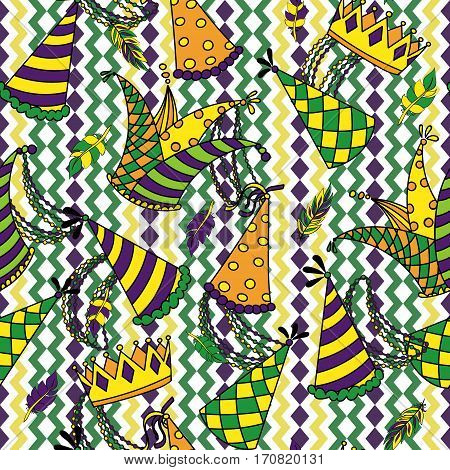 Mardi Gras seamless pattern. Colorful background with carnival hats and jester s hat, crowns, feathers, beads and ribbons. Vector illustration